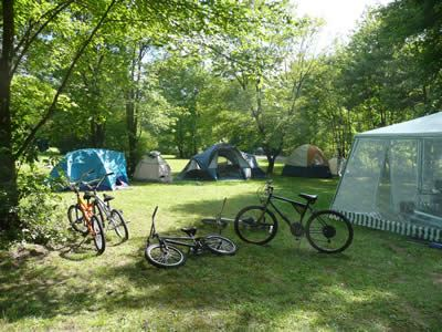 Camping tents and bikes